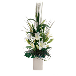 Modern vase bouquet of lillies