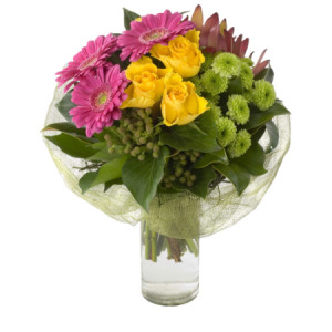 Modern posy in glass vase